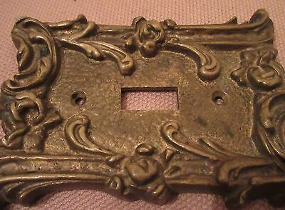 rare antique ornate thick solid brass light switch plate electric outlet cover 4