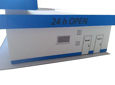 Moderne freie Tankstelle TT 1:120 Epoche 5//6 schwarz,Kartonmodellbausatz