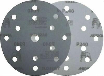 "Mirka Basecut 15 Hole Hook n Loop Sanding Discs H&L 150mm 6"" Sand Paper Disks 8"
