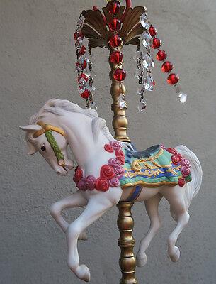 1 Porcelain Horse Carousel Lamp SWAG kids room Chandelier Vintage Crystal Rose 9