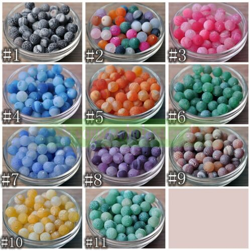 Wholesale Frosted Natural Gemstone Agate Round Spacer Loose Beads 6mm 8mm 10mm