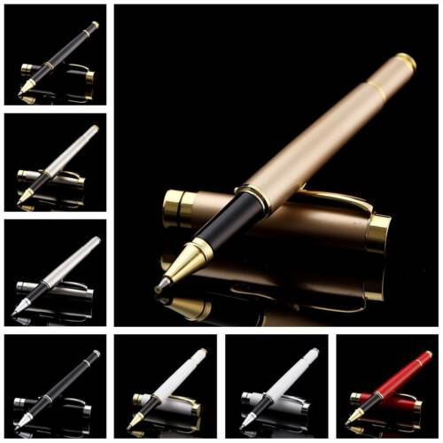 Stainless Steel Office Business Signature Ballpoint Rollerball Black Ink Pen 3