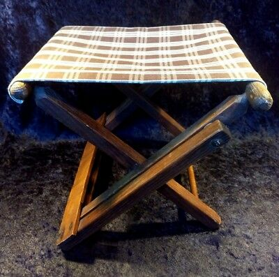 Antique Folding Wood / Cloth Child Camp Beach Chair - Stool - Footrest 2