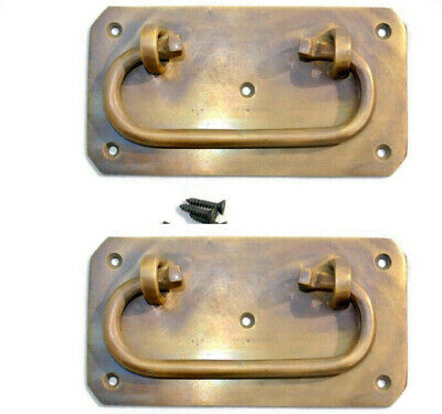 """2 BOX HANDLES latch PADLOC K brass chest old aged style patina 5"""" solid heavy 3"""