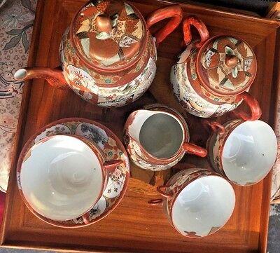 JAPANESE EGGSHELL PORCELAIN KUTANI 15 PIECES  RARE ANTIQUE TEApot SETSIGNED