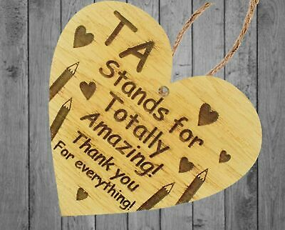Thank You Gift For Teacher Teaching Assistant Leaving School Gifts Wooden Heart 3