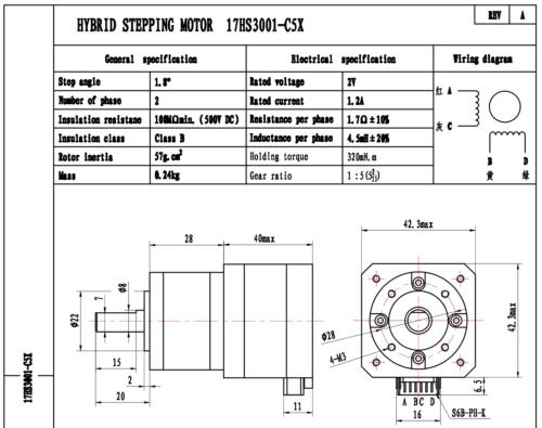 Nema 17 Geared Stepper Motor 5.18:1 1.8deg 0.8A 120mN.m Nema17 Extruder 3