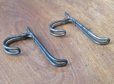 2 Matching Antique Victorian Thick Iron Wire Coat or Hat Hooks,3 Inch 3