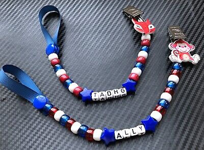 trucks helicopters boats Personalized Dummy Clips for Boys Holder//Strap: cars