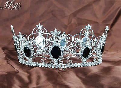 Miss Beauty Pageant Crowns Black Crystal Full Round Tiaras Wedding