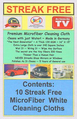Streak Free Cloth 10 Pack Microfiber White FREE SHIPPING! Best 130 GSM Quality
