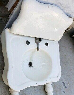 Antique sink earthenware console serpentine sink JL Mott 2