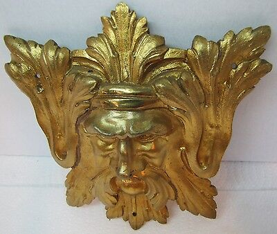 Exquisite 19c Antique Brass Figural Face Ornate High Relief Scary Architectural 5