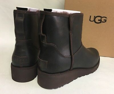 e68f9c45ce9 UGG AUSTRALIA KRISTIN Leather CLASSIC SLIM Stout Brown WEDGE ANKLE BOOTS  1019640