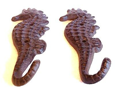 New Cast Iron Seahorse Nautical Hook Hanger Decor - Saltwater Decor - 1 Pair 4