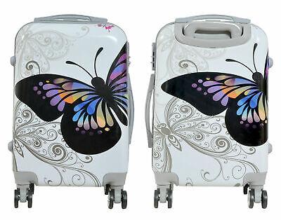 Maleta de cabina + neceser de 4 ruedas dobles 360º fantasia mariposa blanca 3