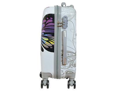 Maleta pequeña para cabina rígida fantasia mariposa blanca 4 ruedas dobles 360º 3