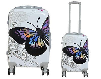 Maleta pequeña para cabina rígida fantasia mariposa blanca 4 ruedas dobles 360º 2
