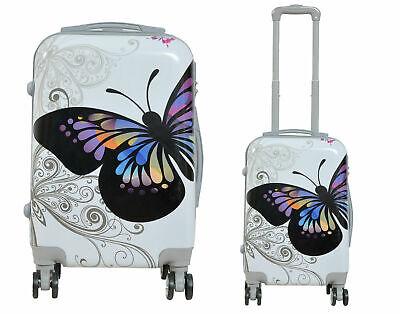 Maleta de cabina + neceser de 4 ruedas dobles 360º fantasia mariposa blanca 2