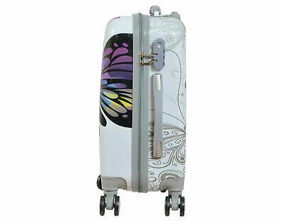 Maleta de cabina + neceser de 4 ruedas dobles 360º fantasia mariposa blanca 4