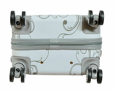 Maleta de cabina + neceser de 4 ruedas dobles 360º fantasia mariposa blanca 6
