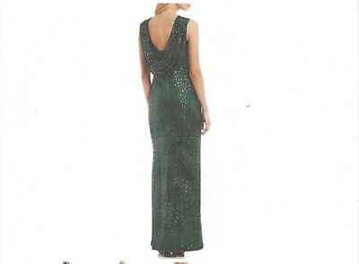 Jessica Howard New w Tag HUNTER GREEN Drape Back Sequin Long Gown 12,14,16