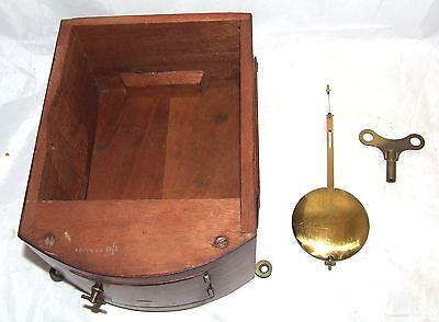 # Antique  rare 8 inch Dial CHAIN Fusee Mahogany Wall School Clock c1900 12