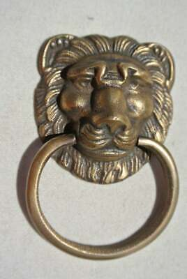 """4 PULLS handles Small heavy LION SOLID BRASS old style house antiques 2""""B 8"""