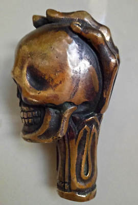 Old Chinese Bronze Handmade Carved Skull Statue Cane Walking Stick Head 3