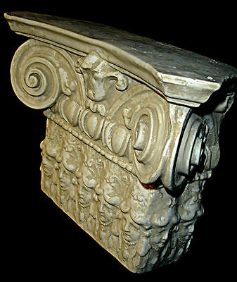 """Large Vintage 12"""" Ionic Greek Muse Shelf Bracket Sconce Antique Sandstone Color"""