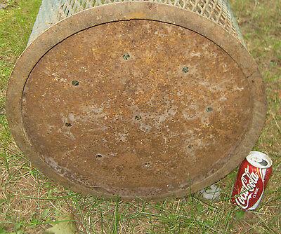 Antique Industrial City Park Steel Mesh Cast Iron Trash Can Waste Basket Hamper 5