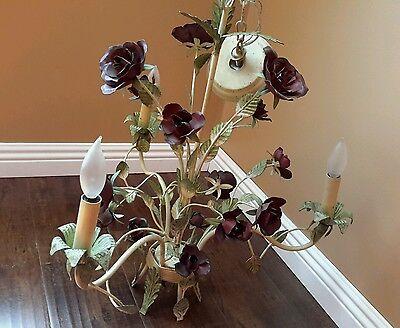 Vintage 3 Arm, Baroque Chandelier w Roses wrought iron Gorgeus 3