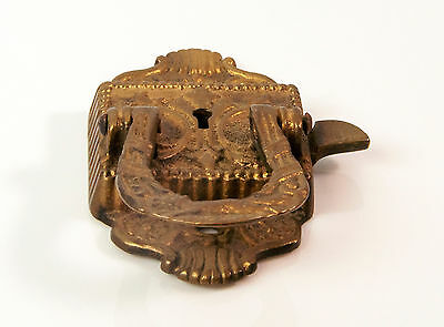Vtg late 1800's ornate brass metal Icebox Metal Handle Latch 3