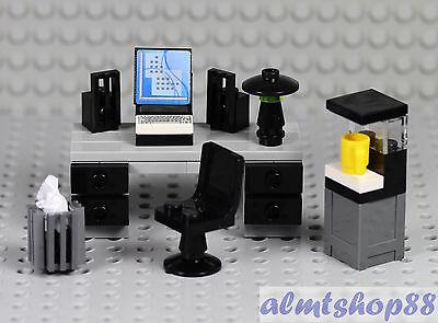 1 Of 2 LEGO   Office Worker Minifigure W/ Desk Water Cooler Coffe Maker  Waste Basket