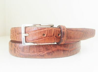 Genuine Crocodile Leather Belt Brown Matte Custom made Size 32-44