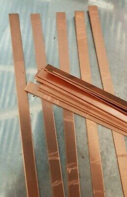 Copper strip 1 mm x 20 mm x 30 cm plastic peelaway mirror side  99.99% pure 2