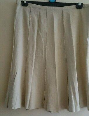 Linen skirt 14, 36' waist, 28' length, ivory cream,10 panel, button+zip. 4