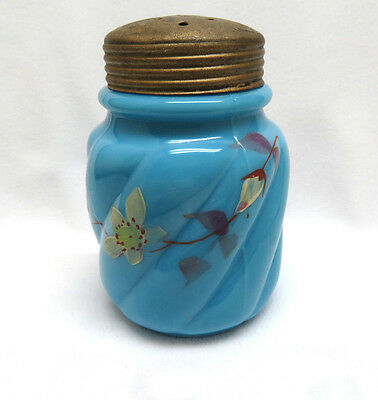 Glass Sugar Shaker Muffineer ~ Hand Painted Floral on Blue Opaline 4