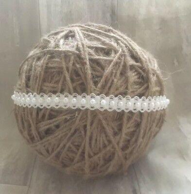 100+ Sold!!! Baby Girl Ivory Christening Headband Baptism Wedding Pearl Hairband 2