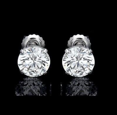 3 Ct. Round Created Diamond Stud Earrings 14K White Gold Heavy Basket Screw-Back 2