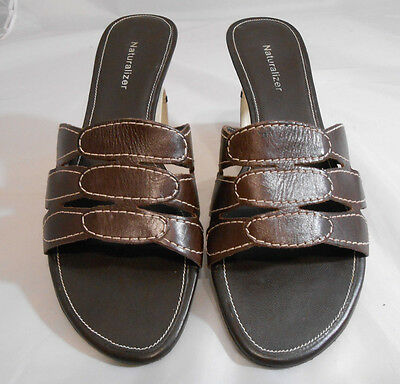d0855805c8a ... Naturalizer S37 Brown Leather Strappy Slip On Wedge Sandals Women s Size  8.5 M 2