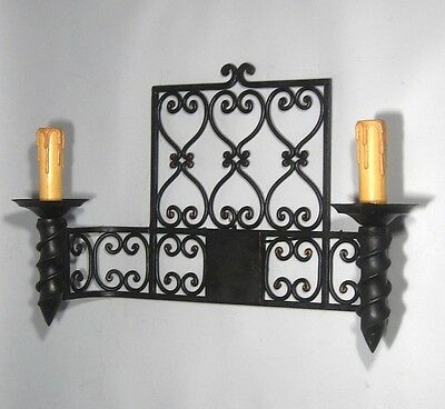 """Large Vintage French Wrought Iron Sconce, """"Chateau"""" Style, 19 x 13 inches 3"""