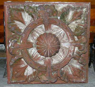 Large 1880's Pair of Unglazed Red Terra Cotta Rosettes Indianapolis, IN Blocks 2