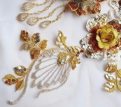 Gold Allover Sequin Broderie Florale Applique Motif Lace Sewing Trim EB0379