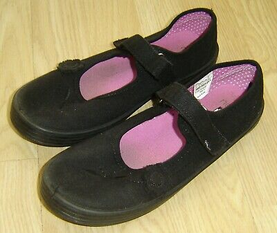 Pair Of Used Girls Black Plimsole Pumps From Next Size 5 2