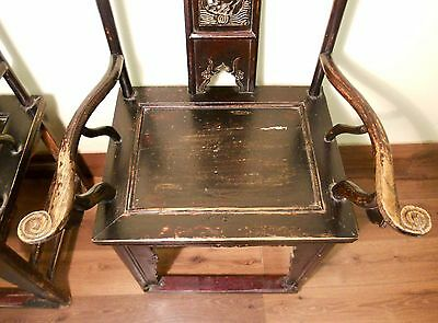 Antique Chinese High Back Arm Chairs (5569) (pair), Circa 1800-1849 7