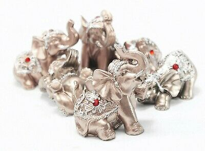 Set of 6 Pinky Rose Gold Lucky Elephants Statues Feng Shui Figurine Home Decor 2