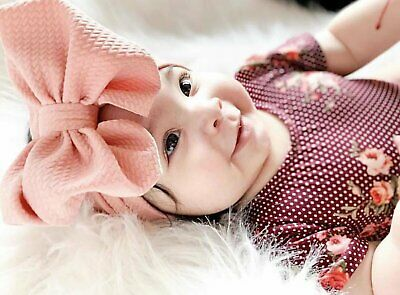 Baby Girls Large Bow Turban Headband Hair band Head Wrap Cute Kids Plain Stretch 11