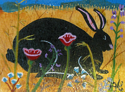 "A869    Original Acrylic Aceo Painting By Ljh    ""Pete Rabbit""  One-Of A-Kind 4"