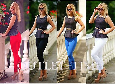 Royal Blue Women's Leggings Full Length Hight Quality Cotton Trouser Fitness 4